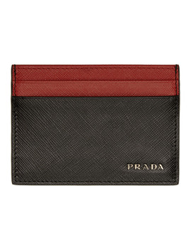 Black & Red Bicolor Saffiano Card Holder by Prada