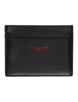 Black & Red Logo Card Holder by Saint Laurent