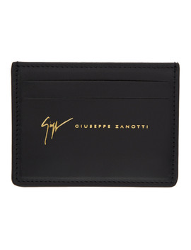 Black Leather Logo Card Holder by Giuseppe Zanotti
