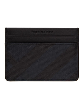Navy & Black London Check Card Holder by Burberry
