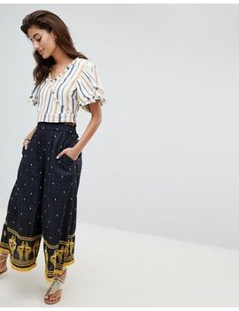River Island Wide Leg Embroidered Pants by River Island