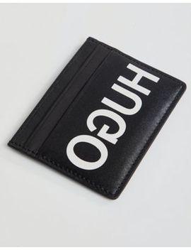 Hugo Exploded Logo Leather Card Holder In Black by Hugo