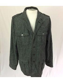Buckle Black Label Mens L Slim Fit Jacket Cotton Herringbone Gray by Buckle