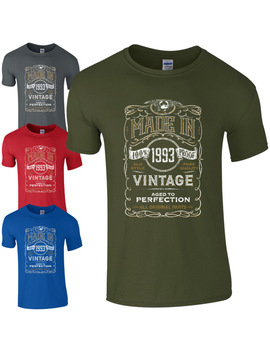 Made In 1993 T Shirt Born 25th Year Birthday Age Present Vintage Funny Mens Gift by Phiking