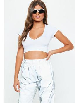 White V Neck Cap Sleeve Crop Top by Missguided