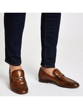 Brown Leather Snaffle Loafers by River Island