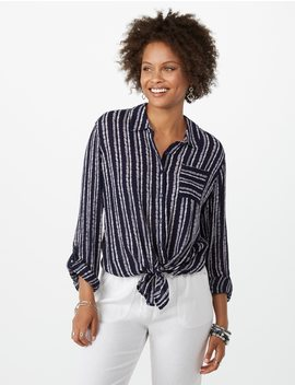 Striped Crinkle Tie Front Top by Dressbarn