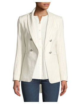 Apollo Linen/Cotton Double Breasted Jacket by Veronica Beard