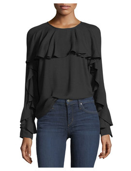 Stella Round Neck Long Sleeve Top With Ruffled Trim by Ella Moss