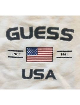 Vintage Guess Jeans Sweatshirt Thrashed Made In The Usa Distressed M White by Guess