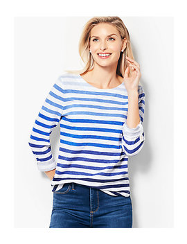 Cotton Roll Cuff Top   Ombré Stripe by Talbots