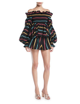 Striped Pleated Pull On Shorts by Caroline Constas