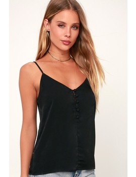 Off The Clock Black Button Front Tank Top by Lulu's