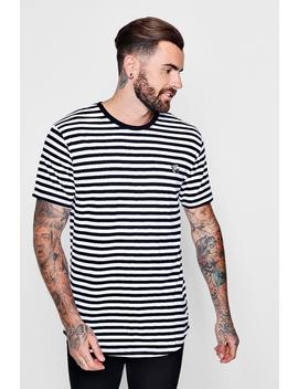 Stripe Curved Hem T Shirt With Parrot Embroidery by Boohoo