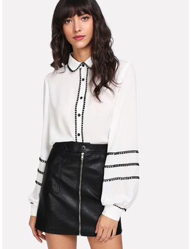 Contrast Dot Lace Trim Bishop Sleeve Blouse by Romwe