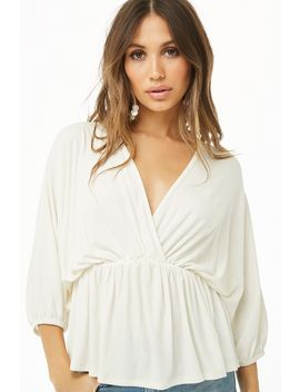 plunging-batwing-sleeve-top by forever-21