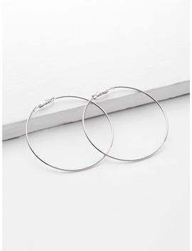 Minimalist Metal Hoop Earrings by Romwe