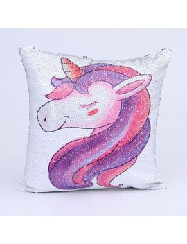 Mermaid Sequins Unicorn Cushion Cover 40*40 Decorative Sofa Pillowcase Home Decor Sequins Unicorn Pillow Cover With Sequins by Wannafree