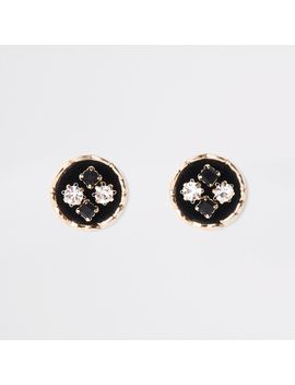 Black Velvet Embellished Circle Stud Earrings by River Island