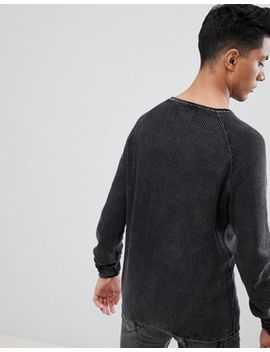 Threadbare Washed Faded Waffle Jumper by Jumper