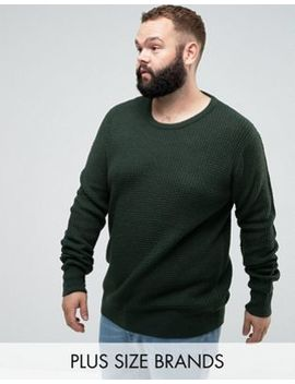 Brave Soul Plus Crew Neck Waffle Knit Jumper by Jumper