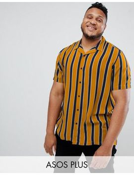 Asos Design Plus Stripe Shirt With Revere Collar In Navy And Mustard by Asos Design