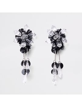 Black Sequin And Bead Drop Earrings by River Island