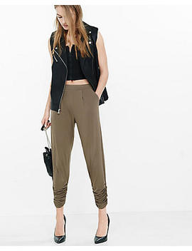 Mid Rise Ruched Ankle Pleated Soft Pant by Express