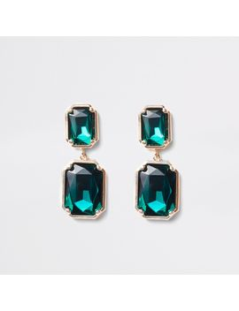 Green Emerald Rectangle Stud Earrings by River Island