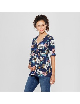 Maternity Floral Elbow Sleeve V Neck Printed Top   Ma Cherie Navy by Ma Cherie