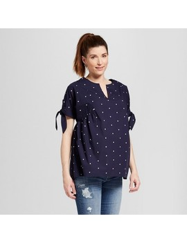 Maternity Embroidered Short Sleeve Polka Dot Top   Isabel Maternity By Ingrid & Isabel™ Navy by Isabel Maternity By Ingrid & Isabel