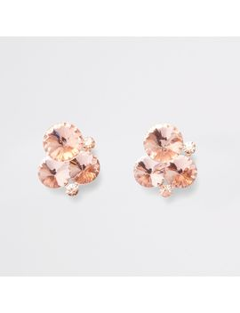 Rose Gold Tone Diamante Cluster Stud Earrings by River Island