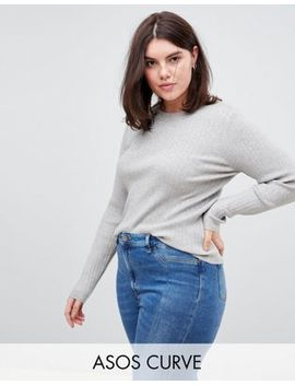 Asos Design Curve Ribbed Jumper In Fine Knit by Asos Design