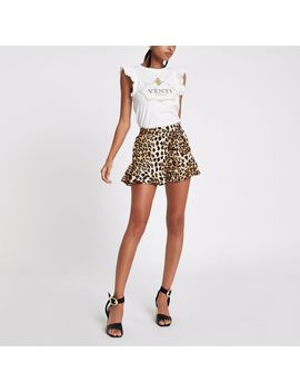 White 'Venti' Frill Tank Top by River Island