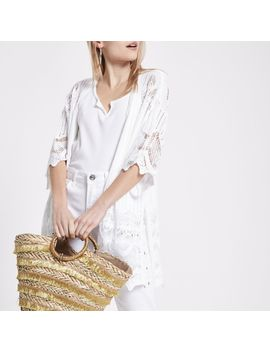 Petite White Crochet Kimono Sleeve Cardigan by River Island