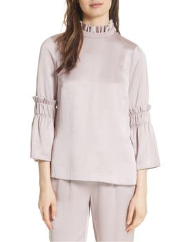 Myani Ruffle Hammered Satin Top by Ted Baker London