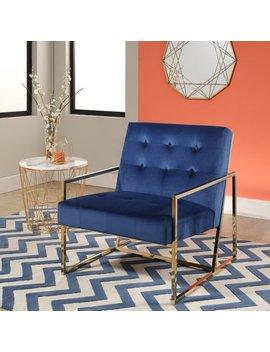 Abbyson Harvey Stainless Steel And Velvet Armchair by Abbyson
