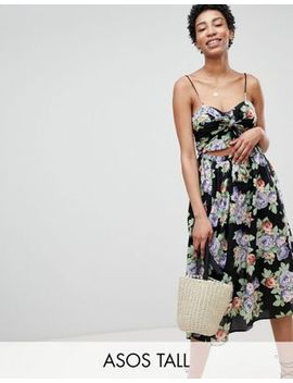 Asos Design Tall Cut Out Midi Sundress In Dark Floral Print With Bow by Asos Design