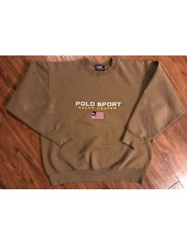 Vintage Polo Sport Crewneck Sweatshirt Bootleg Brown Size Large by Polo Sport