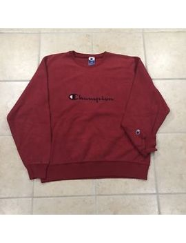 Vintage Vtg 90's Champion Spellout Logo Crewneck Sweatshirt Inside Out Rare! Red by Champion
