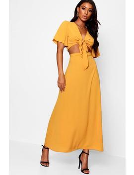Maye Tie Angle Sleeve Maxi Skirt Co Ord by Boohoo