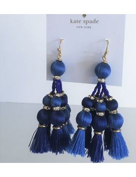New Kate Spade Pretty Poms Small Tassel Dangle Earrings ~ Sumac Blue Nwt by Kate Spade
