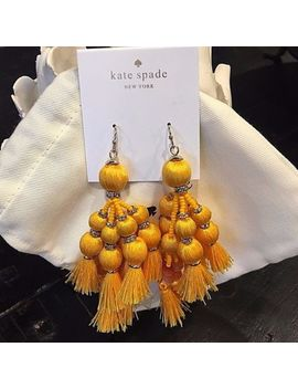 Nwt New Kate Spade Pretty Poms Tassel Earrings Sunny Yellow Dangle Two Tier Long by Kate Spade New York
