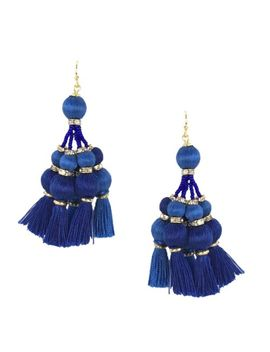 Kate Spade New York Women's Pretty Poms Tassel Statement Earrings   Blue by Kate Spade New York