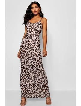 Leopard Print Strappy Jersey Maxi Dress by Boohoo