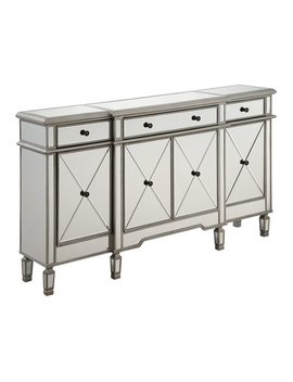 """3 Drawer 4 Door Cabinet L60""""W14""""H36"""" Silver Clear by Elegant Furniture & Lighting"""