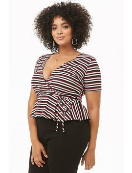 Plus Size Striped Mock Wrap Top by Forever 21