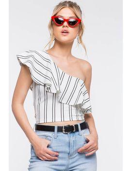 One Shoulder Stripes Flounce Top by A'gaci