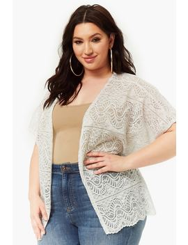 Plus Size Sheer Crochet Lace Cardigan by Forever 21