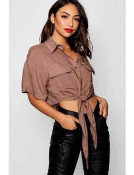 Tie Front Utility Short Sleeve Shirt by Boohoo